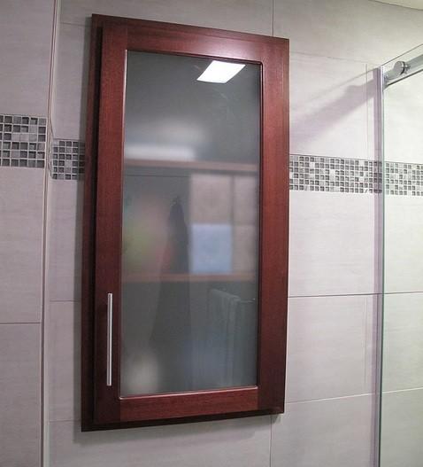 Glass Door For Kitchen Cabinet: Custom Wall Cabinet With Glass Door