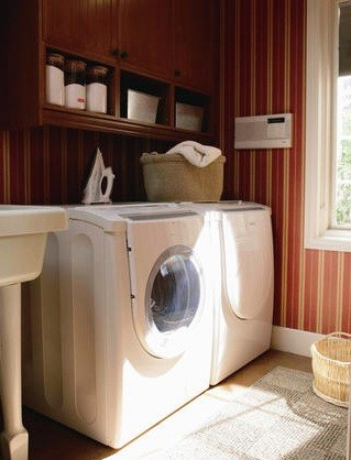 Dark brown wall cabinets for laundry room