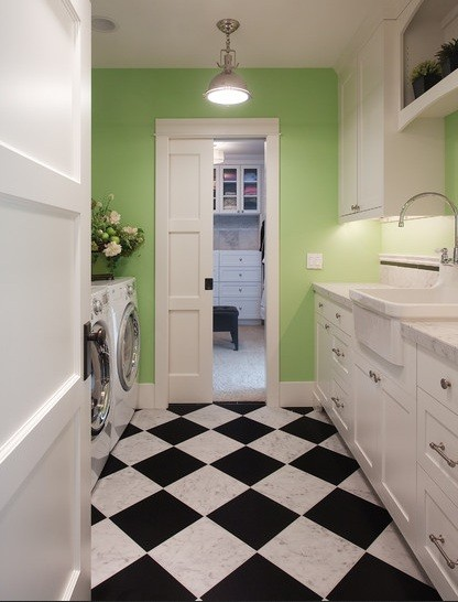 Laundry Room Black White Flooring Ideas