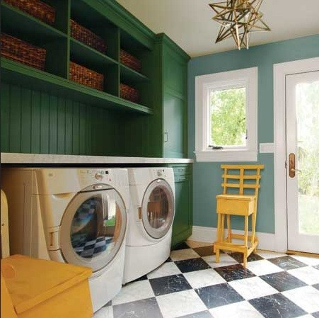 Mix Blue Color Laundry Room