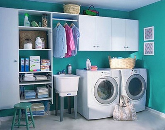 Comfortable small laundry room design home interiors for Small comfort room design