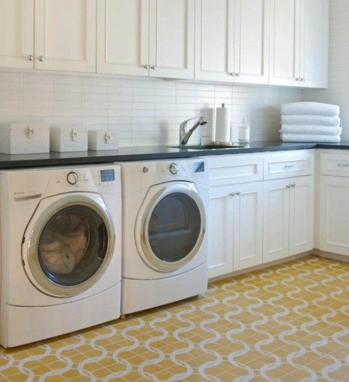 Yellow laundry room flooring design home interiors Design a laundr room laout