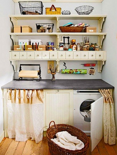 Laundry room shelves as storage home interiors for Small apartment storage ideas