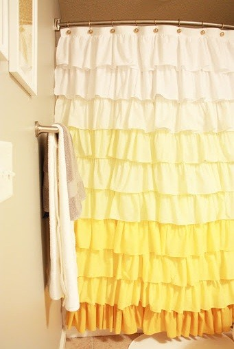 Beautifully Hand made ruffled shower curtain ideas Different bathroom curtain ideas