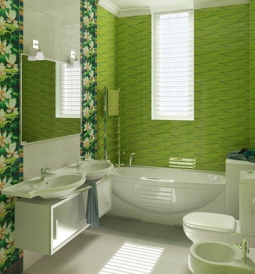 gallery for gt bathroom green tile ideas