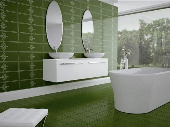 Green tiles in elegant bathroom design