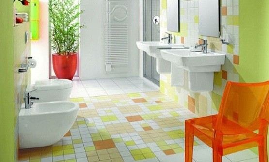 Green white and light brown tile Colorful bathroom tiles ideas
