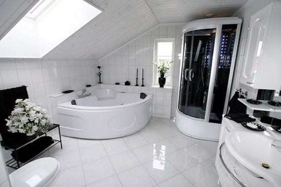 Modern White Tile Bathroom Flooring Home Interiors