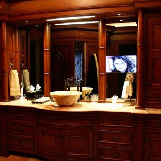 Nice lighting on dressing table mirror home interiors for Nice bathroom mirrors