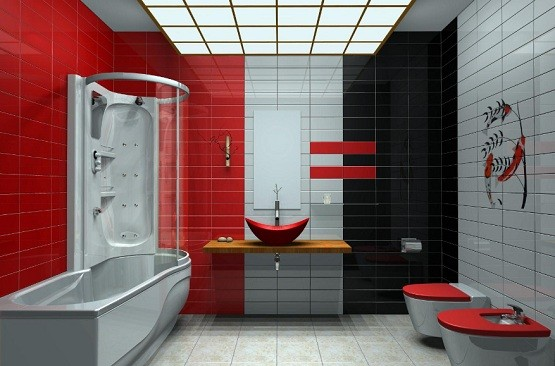 Red, white and black tiles bathroom ideas | Home Interiors