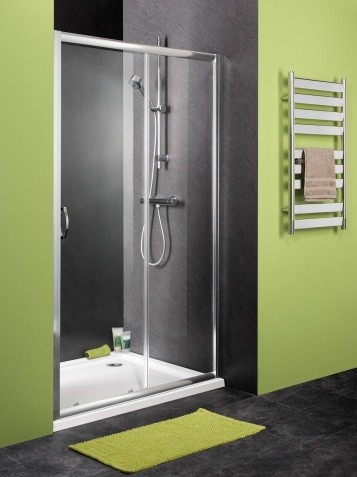 Sliding shower door with satin chrome frame and clear glass | Home ...