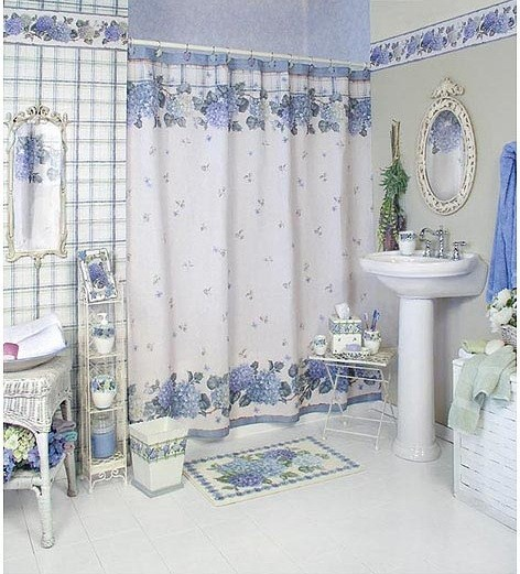 Bathroom curtain ideas white blue flower pattern Bathroom Curtain Ideas   What You Need To Think Before You Get It