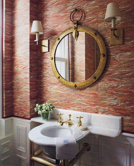 Creative Ideas To Decorate Your Bathroom Wall » Classic Style Wallpaper  Ideas For Bathroom