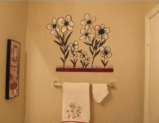 Creative painting bathroom wall
