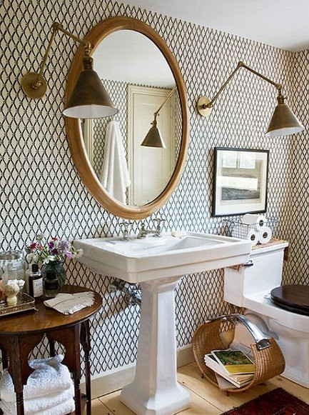 accent view for ideas a bold wall wallpaper bathroom modern statement product