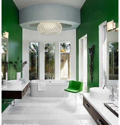 Green & white modern bathroom paint colors ideas