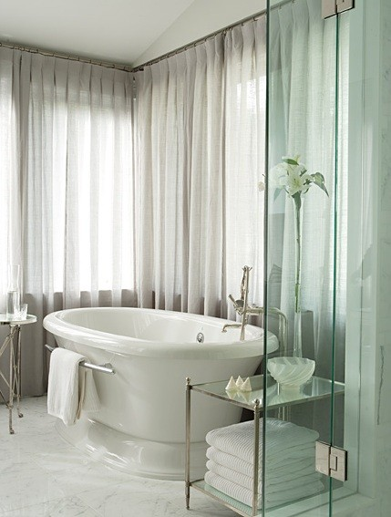 Pure white drapery bathroom curtains Bathroom Curtain Ideas   What You Need To Think Before You Get It