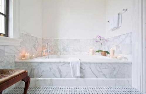 White marble stone backsplash ideas home interiors for White marble bathroom ideas