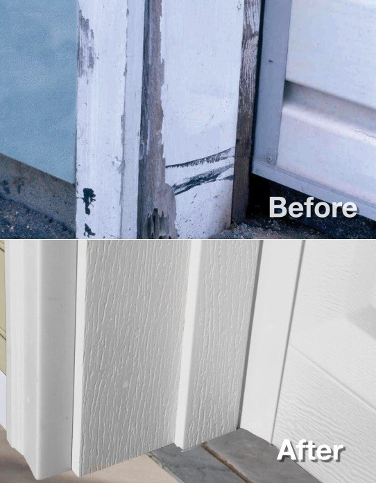Before After instalation Vinyl garage door trim Vinyl Garage Door Trim and What You Need to Know