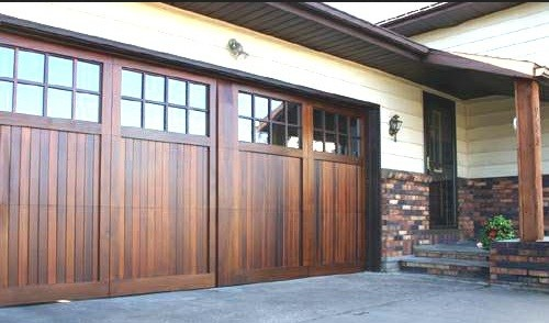 Superbe Brown Wood Look Garage Doors With Glass Window