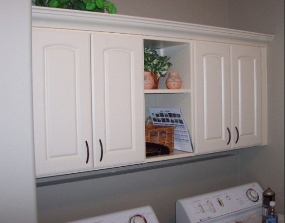 open pantry shelving to the laundry room - Laundry Room Cabinet Ideas. Compact Mudroom Laundry Room Storage