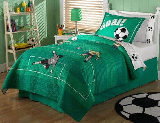 Green color football bedroom theme