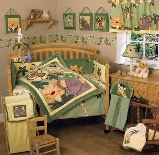 Jungle-themed kids bedding sets for girls