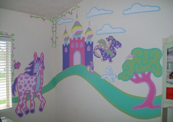 Kids bedroom paint ideas for boy or girl bedrooms home for Castle mural kids room
