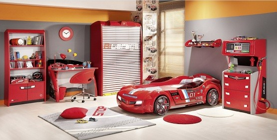 Racing Bedroom Furniture And Color For Boys