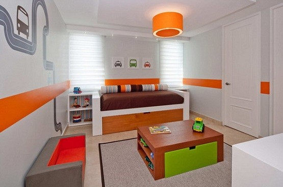 White Orange Stripe Paint Ideas For Kid Bedroom