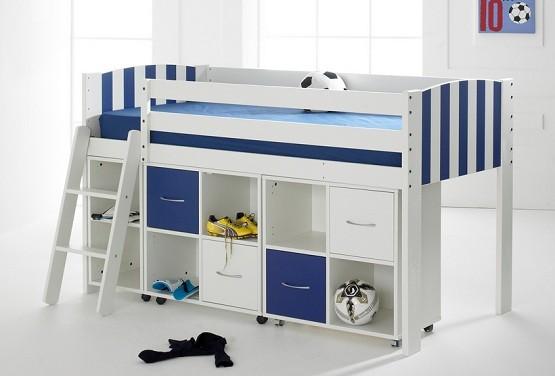 Blue & white stripe children beds with storage units