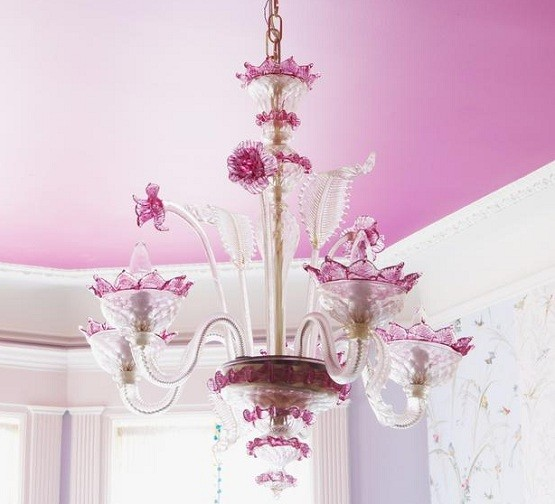 Chandelier Flower With Pedant For Girls Bedroom