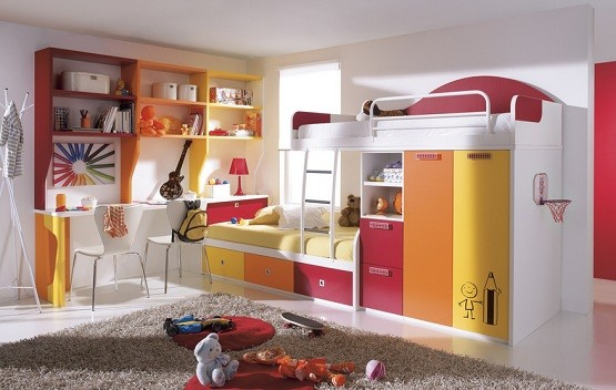 Colorful bedroom furniture for kids complete with wardrobe - image by funkybunk.co.uk
