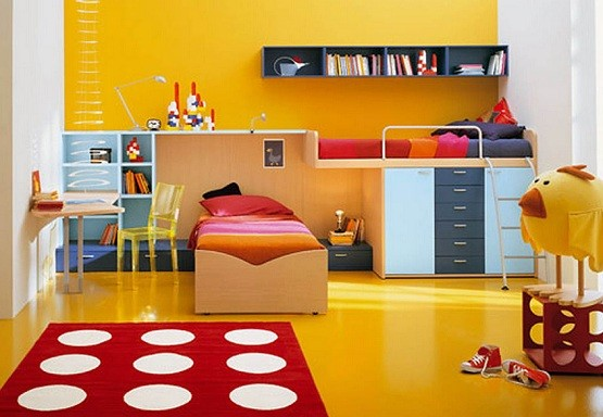 Modern kids bedroom with workspace furniture | Home Interiors