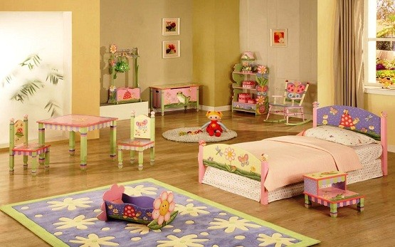 Paint the kids furniture sets with magic garden theme