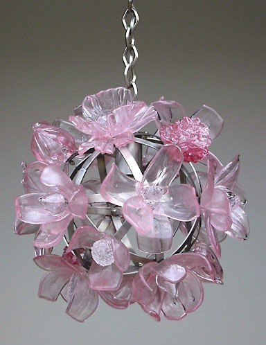 Pink girls flower pendant light
