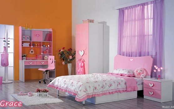 Pink white girls bedroom furniture and bedding sets for Bedroom ideas for girls