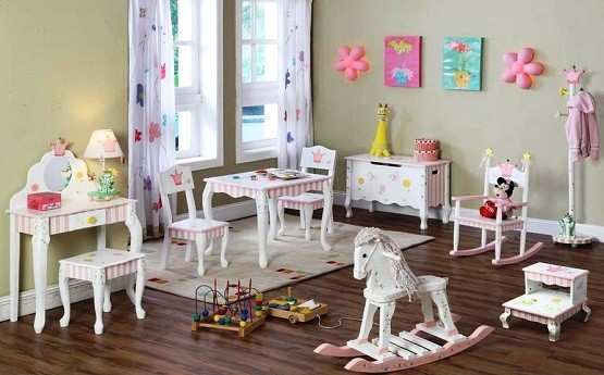 Princess theme kids bedroom furniture sets