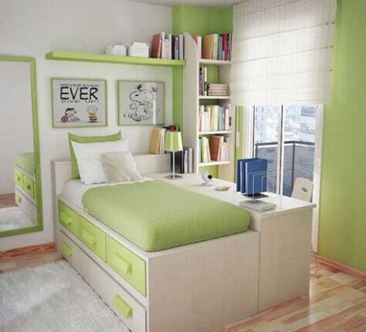 Smoky green for sophisticated look girls bedroom