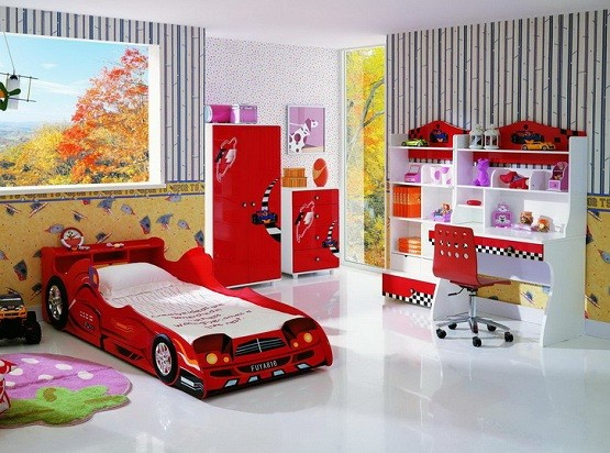 The complete Red white kids bedroom furniture sets for boys