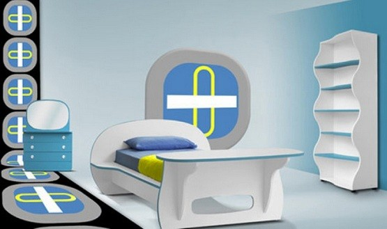 White & blue modern kids bedroom furniture