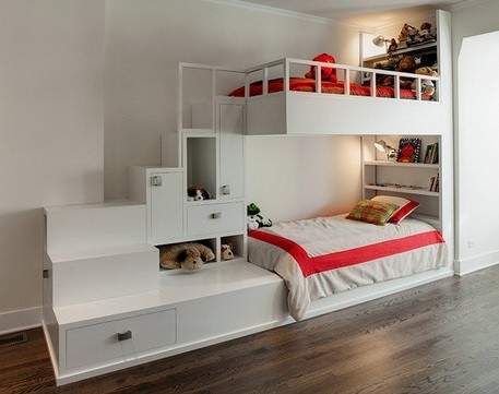 White children bunk beds with stairs & storage