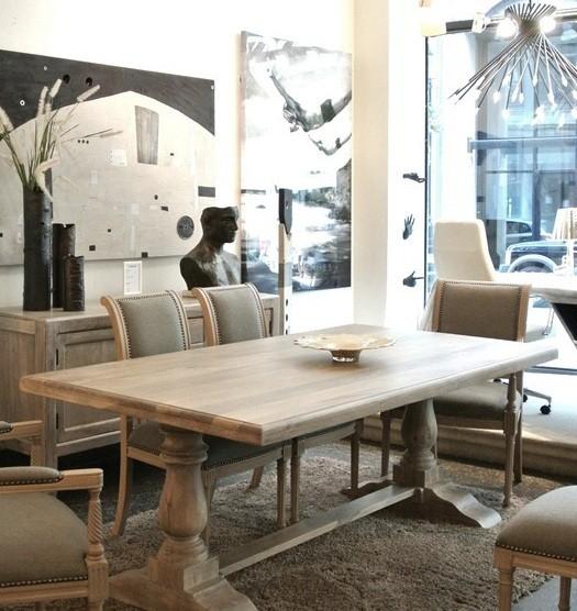 Belgian oak trestle dining room table