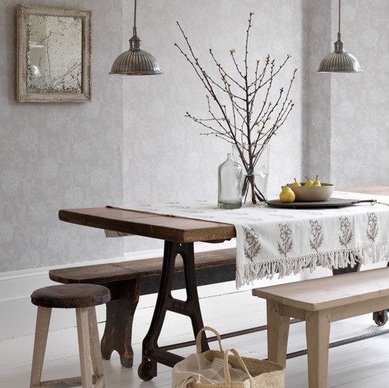 Country interior style trestle dining room table home for Country style dining table