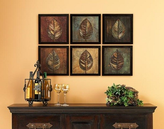 Framed leaves wall art dining room ideas home interiors for Dining room wall art images