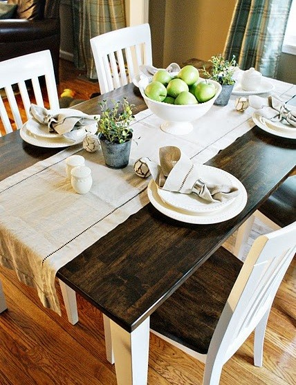 Refinished black white oak table and chairs home interiors for How to redo dining room chairs