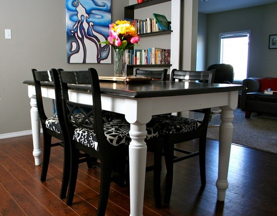 Refinished top black oak table and chairs home interiors for How to redo dining room chairs