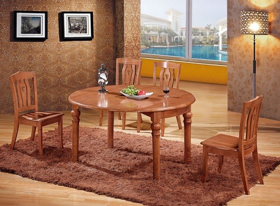 Round Oak dining room table and chair sets
