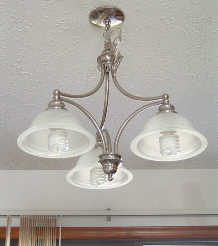Simple light fixtures with chrome shade