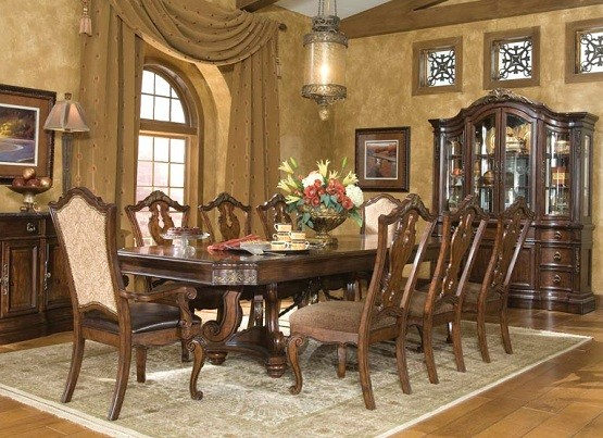 Exceptional Types Of Tuscan Dining Room Furniture » Tuscan Upholstered Arm Chair And  Side Chair Dining Room Set